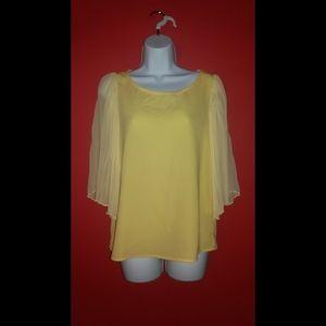 C. Luce Yellow Accordion Sleeve Blouse
